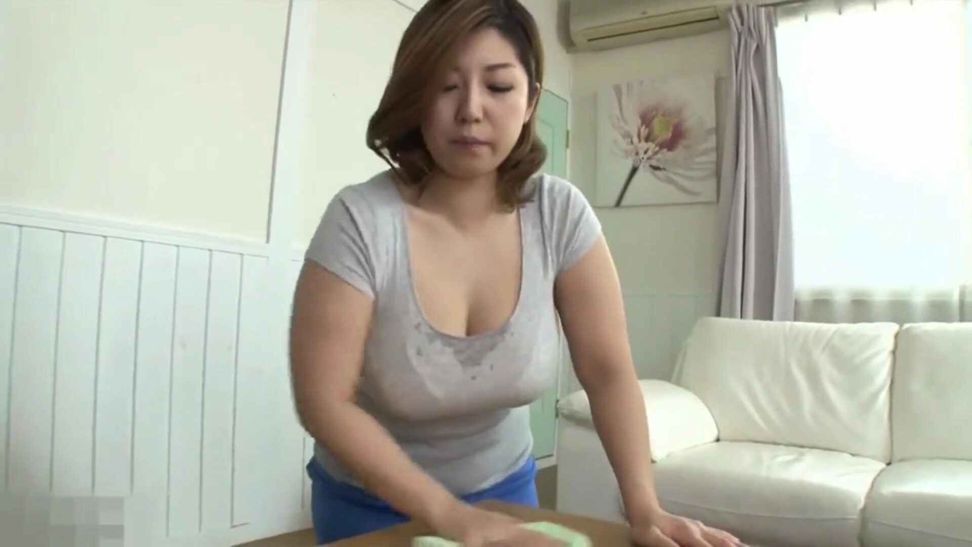 Japanese mama caught by surprise by sonny when cleaning Japanese step mom busy cleaning when step son loses control and compels himself on her busty perspired assets