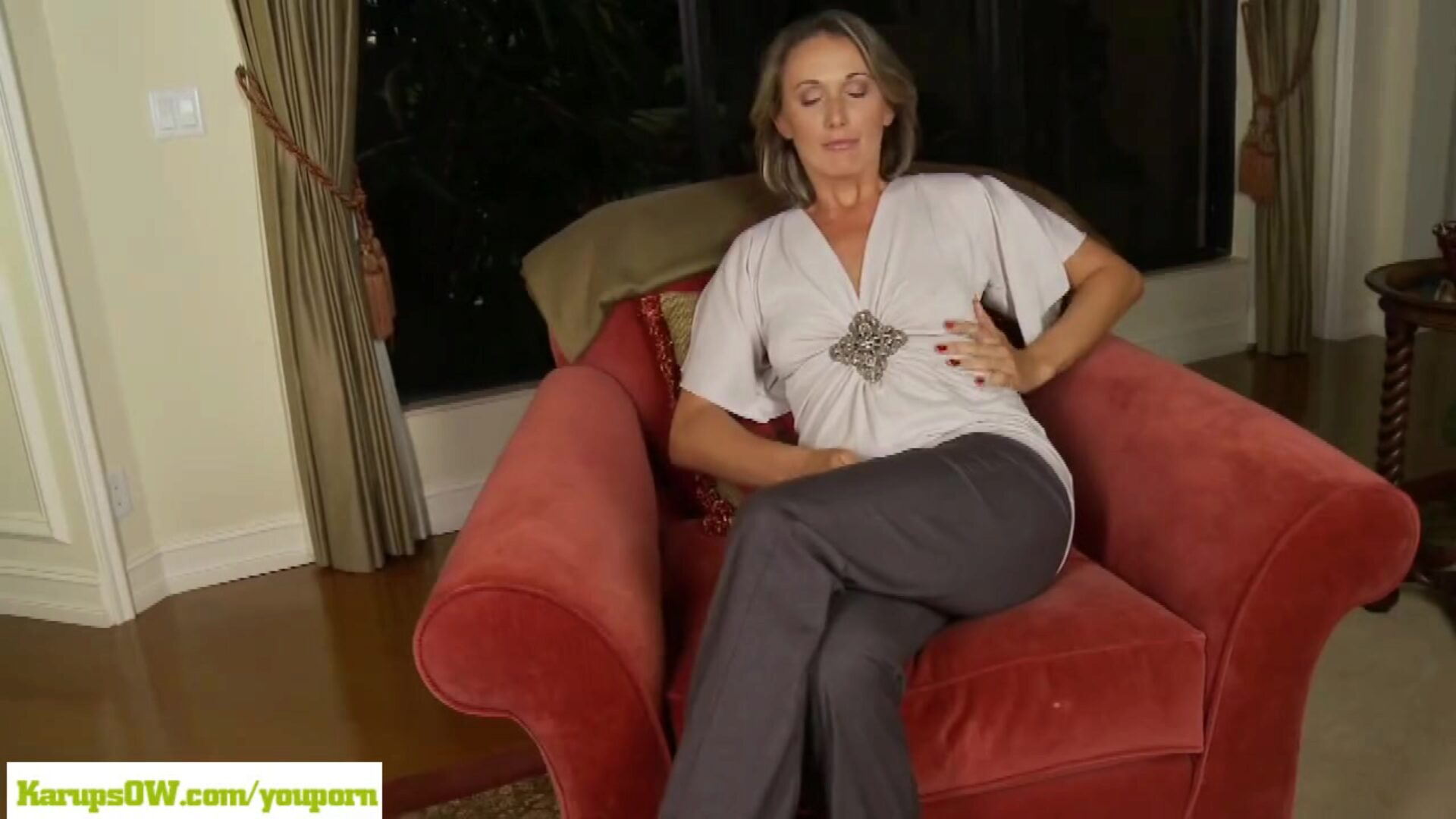 Cougar Misty Law Fingers Older Twat Blond cougar Misty Law undresses down to only her stilettos as she frigs her mature love tunnel rigid Look at that sticky twat juices spin down her thigh