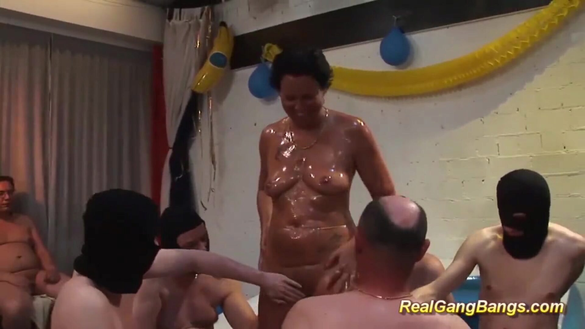 german mamma gets well-lubed and gangbanged