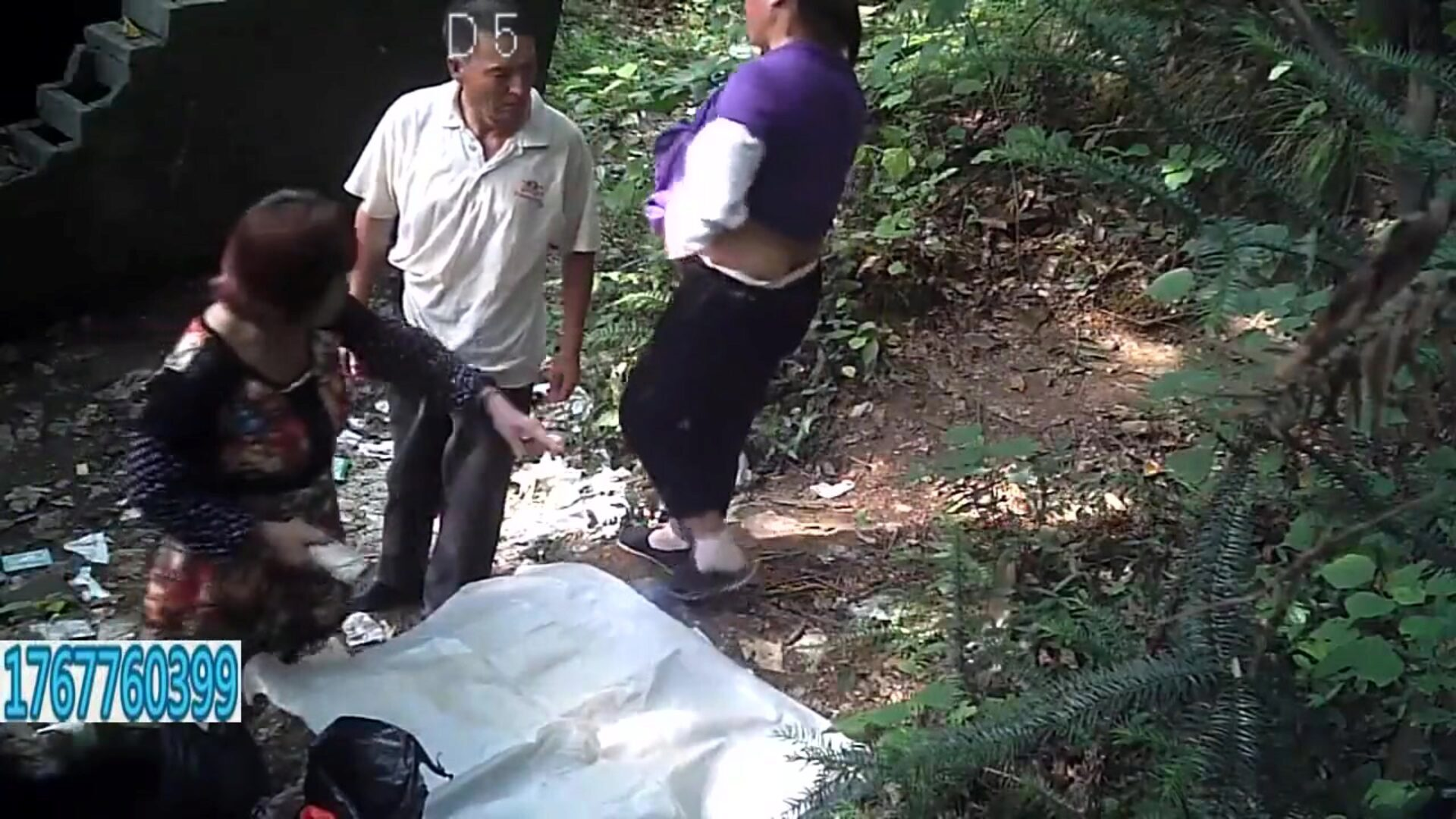 Old Man And 2 Asian Prostitutes Outdoors