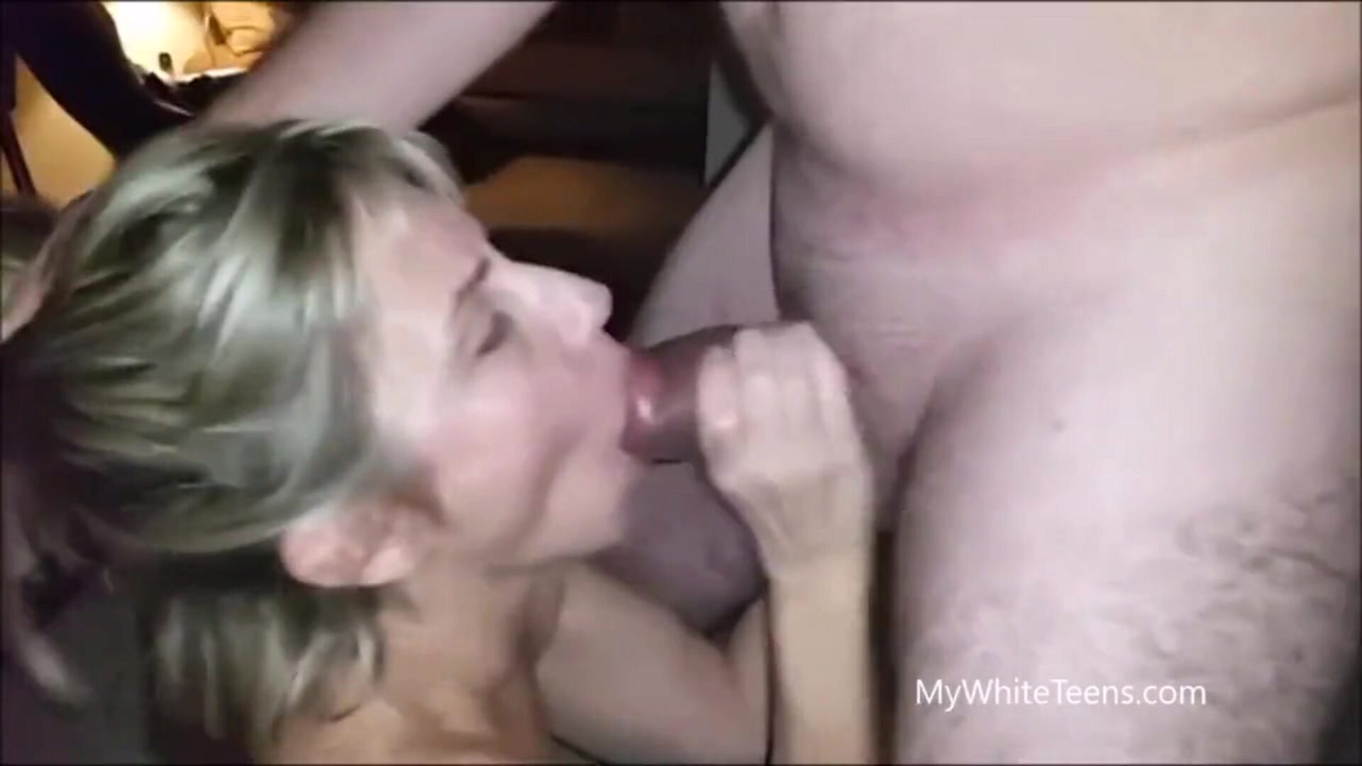 37yr aged MILF gulping in front of husband Pervert husband letting his golden-haired mother I'd like to fuck swallow some chaps blast