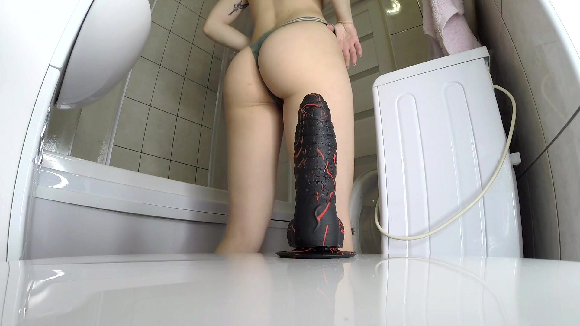 Tight Pussy Bitch Rides a Thick Dildo