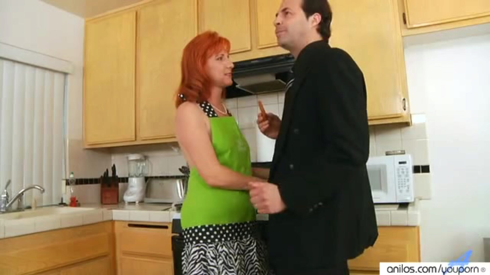 Redhead Sasha Brand Housewife Fucks In Kitchen Redhead Sasha Brand receives her unshaved Anilos wet crack pumped up in the kitchen table.
