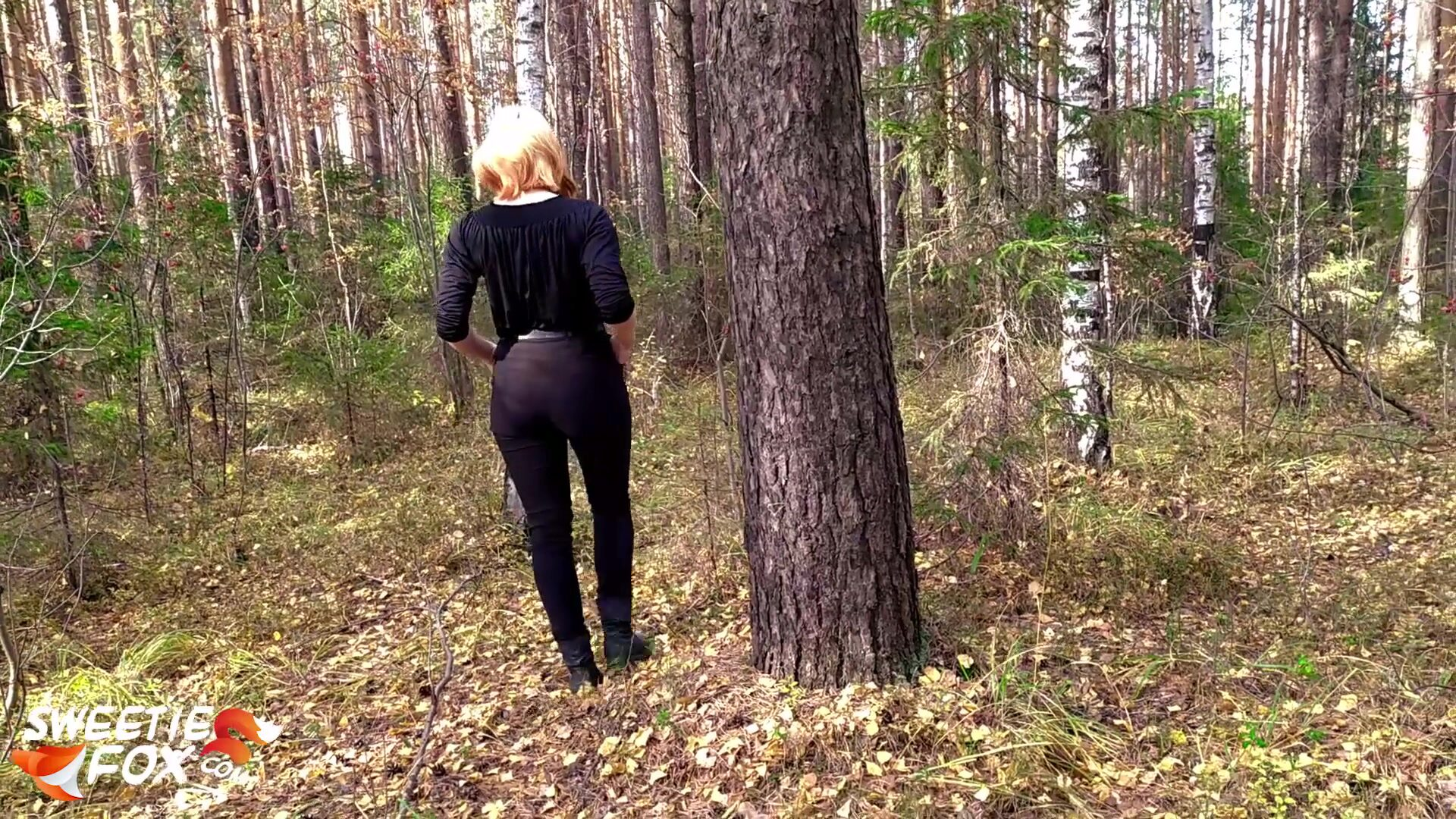 Redhead Girl Sucked and Hard Fucked in the Forest