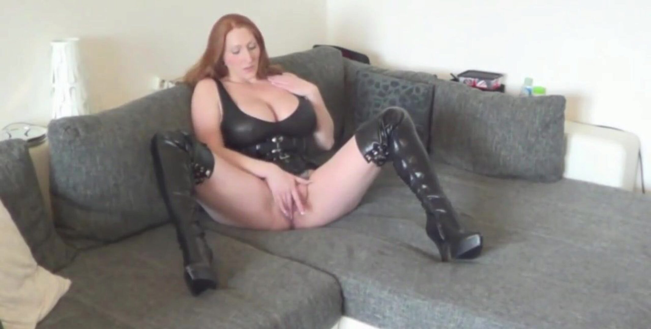 large breasted redhaired cougar pumped in high leather shoes