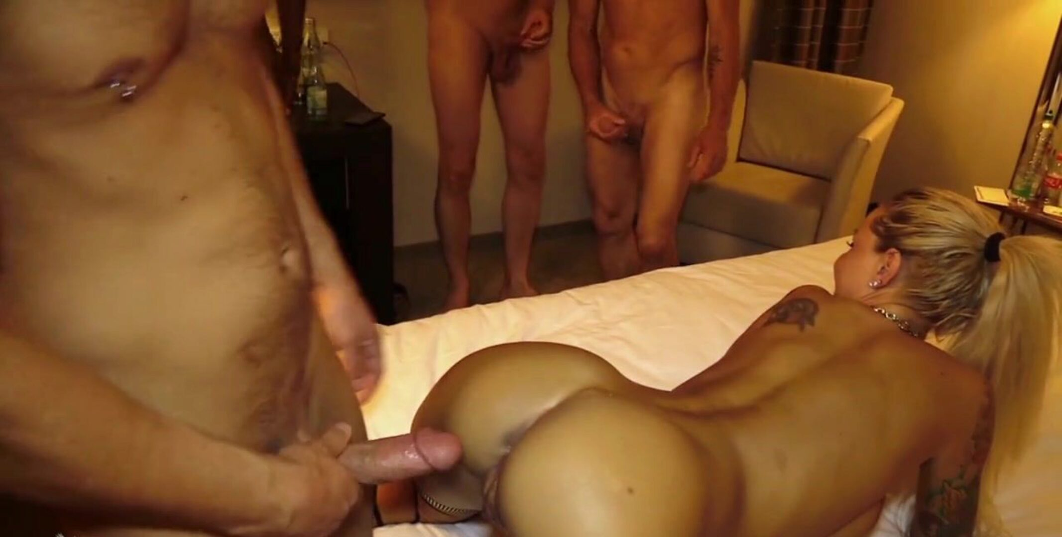 Bareback Gangbang with Bukkake for German Teen Anni Angel