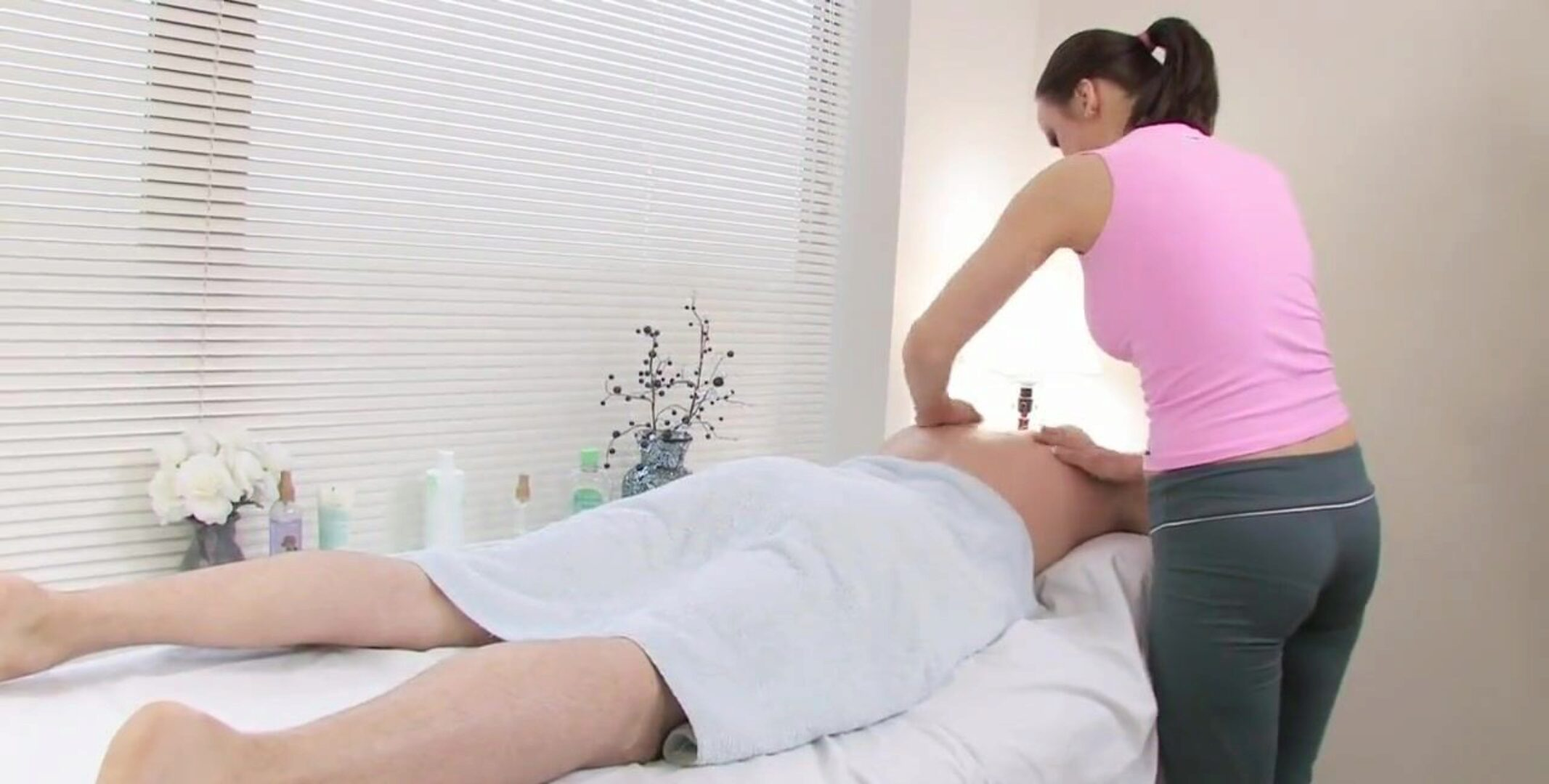 Cute masseuse acquires his large hard meat pillar
