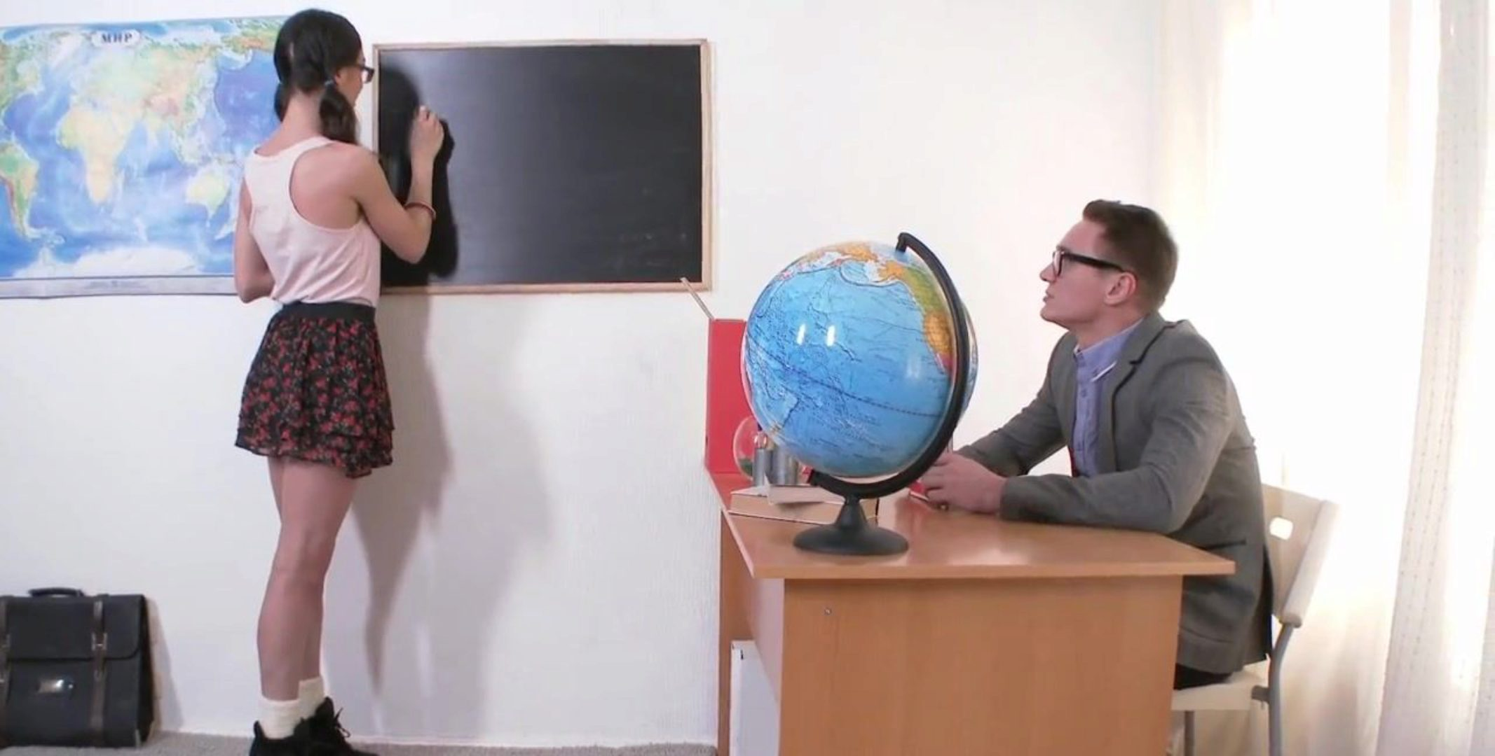 Teacher gives his adorable college girl a specific lesson